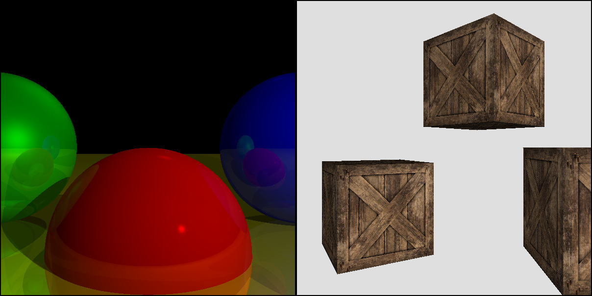 Figure 2: The raytracer and the rasterizer have their own unique features. Left: raytraced shadows and recursive reflections; right: rasterized textures.